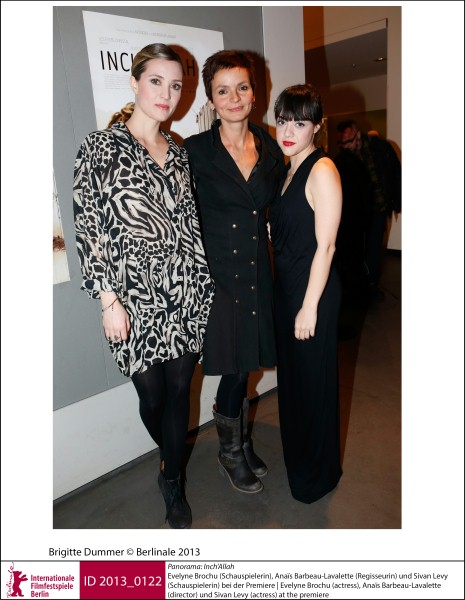 Evelyne Brochu, Anaïs Barbeau-Lavalette, Sivan Levy    Panorama | Impressions  Inch'Allah: the actress, the director and the actress at the premiere.  ID 2013_0122
