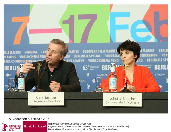 Bruno Dumont, Juliette Binoche    Competition |  Camille Claudel 1915   Director Bruno Dumont and actress Juliette Binoche at the Press Conference.  ID 2013_0224