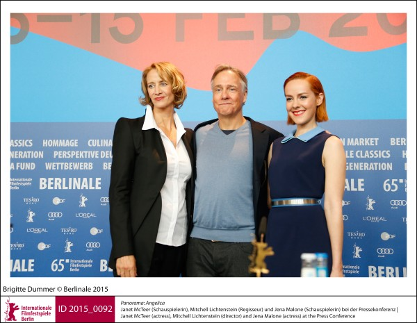 Janet McTeer, Mitchell Lichtenstein, Jena Malone   Panorama | Impressions  Angelica: Janet McTeer (actress), Mitchell Lichtenstein (director) and Jena Malone (actress) at the Press Conference.  ID 2015_0092