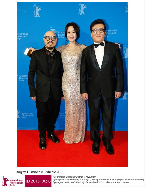Byeongwoo Lee, Kim Yunjin, JK Youn   Panorama | Impressions  Gukje Shijang (Ode to My Father): Byeongwoo Lee (music), Kim Yunjin (actress) and JK Youn (director) at the premiere.  ID 2015_0098