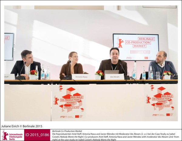 Ariel Ilieff, Antonia Nava, Javier Méndez, Ido Abram   Berlinale Co-Production Market | Impressions  Co-producers Ariel Ilieff, Antonia Nava and Javier Méndez with moderator Ido Abram (2nd from right) at the case study on Isabel Coixet's Nobody Wants the Night.  ID 2015_0186