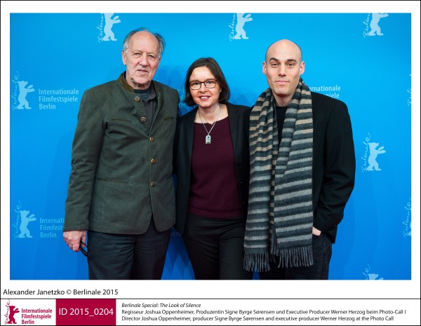 Joshua Oppenheimer, Signe Byrge Sørensen, Werner Herzog   Berlinale Special |  The Look of Silence   Director Joshua Oppenheimer, producer Signe Byrge Sørensen and executive producer Werner Herzog at the Photo Call.  ID 2015_0204