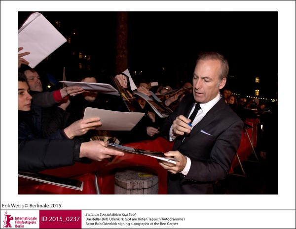 Bob Odenkirk   Berlinale Special |  Better Call Saul   Actor Bob Odenkirk signing autographs at the Red Carpet.  ID 2015_0237