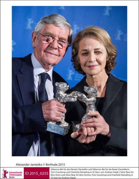 Tom Courtenay, Charlotte Rampling   Prizes & Honours | 2. Silver Bears  Silver Bear for Best Actor und Silver Bear for Best Actress: Tom Courtenay and Charlotte Rampling in 45 Years by Andrew Haigh.  ID 2015_0255