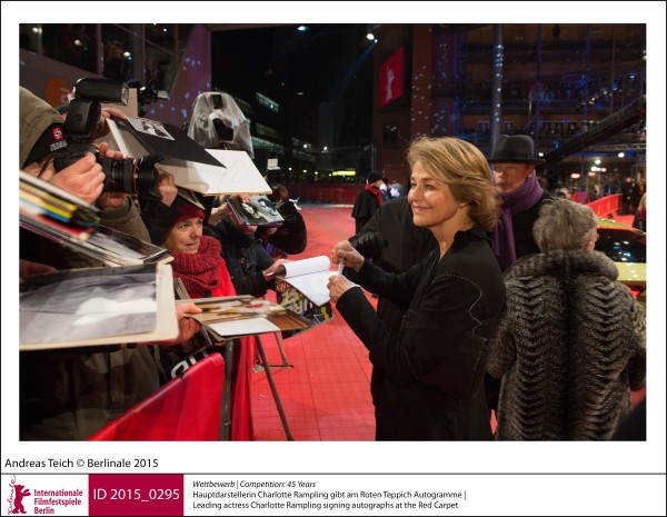Charlotte Rampling   Competition |  45 Years   Leading actress Charlotte Rampling signing autographs at the Red Carpet.  ID 2015_0295
