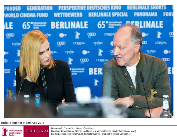 Nicole Kidman, Werner Herzog   Competition |  Queen of the Desert   Leading actress Nicole Kidman and director Werner Herzog at the Press Conference.  ID 2015_0299