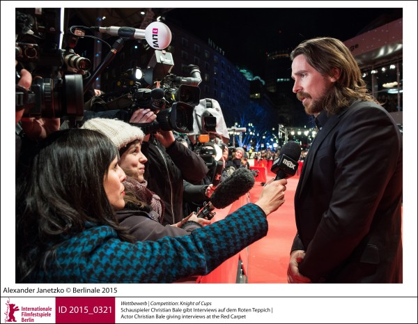 Christian Bale   Competition |  Knight of Cups   Actor Christian Bale giving interviews at the Red Carpet.  ID 2015_0321