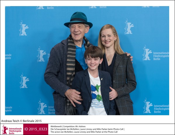 Ian McKellen, Milo Parker, Laura Linney   Competition |  Mr. Holmes   The actors Ian McKellen, Laura Linney and Milo Parker at the Photo Call.  ID 2015_0323