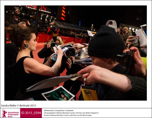 Helena Bonham Carter   Competition |  Cinderella   Actress Helena Bonham Carter with fans at the Red Carpet.  ID 2015_0394