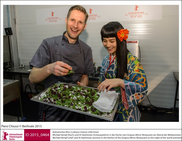 Michael Kempf, Ai Hashimoto   Culinary Cinema | Impressions  Little Forest: Michael Kempf (chef) and Ai Hashimoto (actress) in the kitchen of the Gropius Mirror Restaurant on the night of the world premiere.  ID 2015_0464