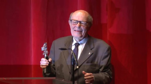 Award Ceremony    Wednesday Feb 11, 2015    - in German only -   Presentation of the Berlinale Camera to Marcel Ophüls by Festival Director Dieter Kosslick in the Haus der Berliner Festspiele, moderated by Sandra Schulberg, film critic Katja Nicodemus held the laudatory speech in honour of the recipient.