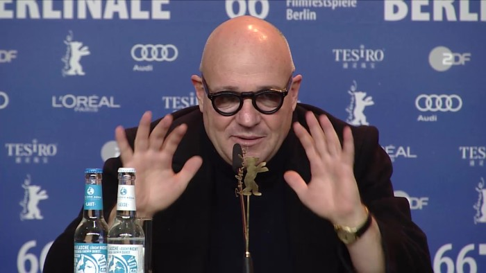 Paolo Del Brocco, Donatella Palermo (Producers), Gianfranco Rosi (Director, Writer, Cinematographer, Sound, Producer), Pietro Bartolo (Protagonist), Serge Lalou (Producer)Moderation: Vincenzo Bugno
