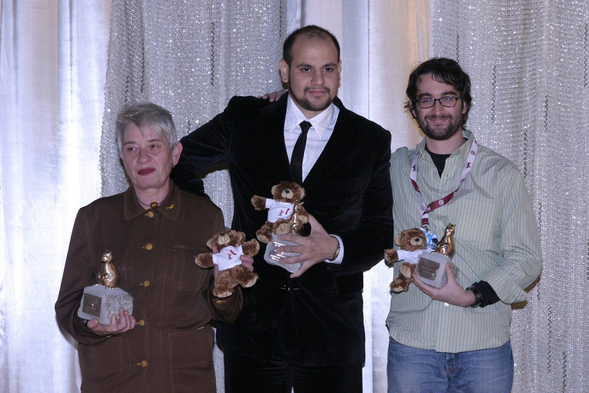 The Teddy Award winners Veronika Minder (for  Katzenball ), Maximiliano Pelosi (for  Un Año sin Amor ), Jay Duplass (for  The Intervention ).    Teddy Award    Feb 18, 2005
