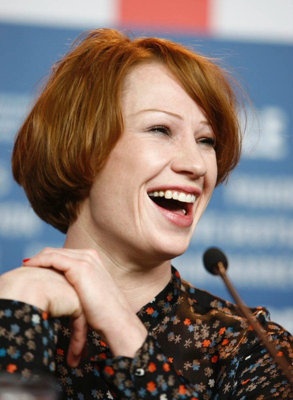 Birgit Minichmayr   Actress Birgit Minichmayr laughing during the press conference.     Competition  –   Alle Anderen  | Everyone else  – Programme Press Conference    Feb 9, 2009