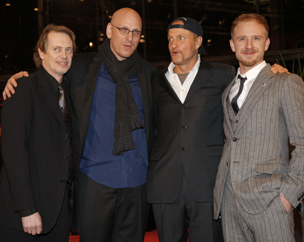 Steve Buscemi, Oren Moverman, Woody Harrelson, Ben Foster   Steve Buscemi, director Oren Moverman, Woody Harrelson and Ben Foster entering the Berlinale Palast.     Competition  –   The Messenger   – Berlinale Palast    Feb 9, 2009