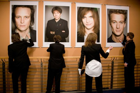 Feb 17, 2011August Diehl, Andres Veiel, Lena Lauzemis, Alexander Fehling  Task work - the actors signing their Star Portraits in the Berlinale Palast. Competition – Wer wenn nicht wir | If Not Us, Who – Berlinale Palast