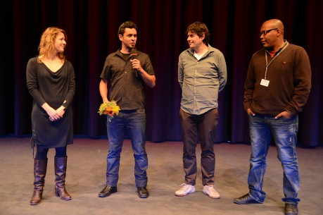 Feb 12, 2013Julia Fidel, Alfredo Soderguit, Julián Goyoaga, Jhonny Hendrix Hinestroza  The moderator and the filmmakers on the stage of the Haus der Kulturen der Welt. Generation – AninA