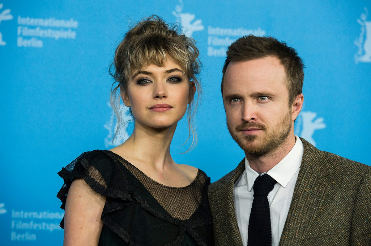 Imogen Poots, Aaron Paul   The two actors at the Photo Call.     Berlinale Special  –   A Long Way Down      Feb 10, 2014