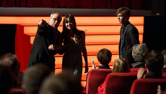 "Feb 13, 2014Dieter Kosslick, Lorelei Linklater, Ellar Coltrane  ""That way!"" - the Festival Director showing the actress the way to her seat. Competition – Boyhood"