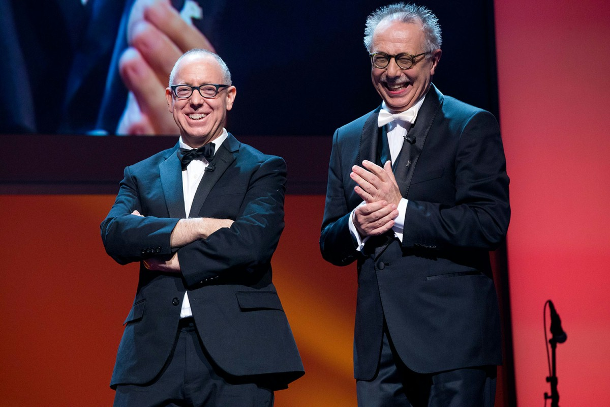James Schamus, Dieter Kosslick   Old friends: the president of the International Jury and the Festival Director.     Competition  – Opening Gala    Feb 6, 2014