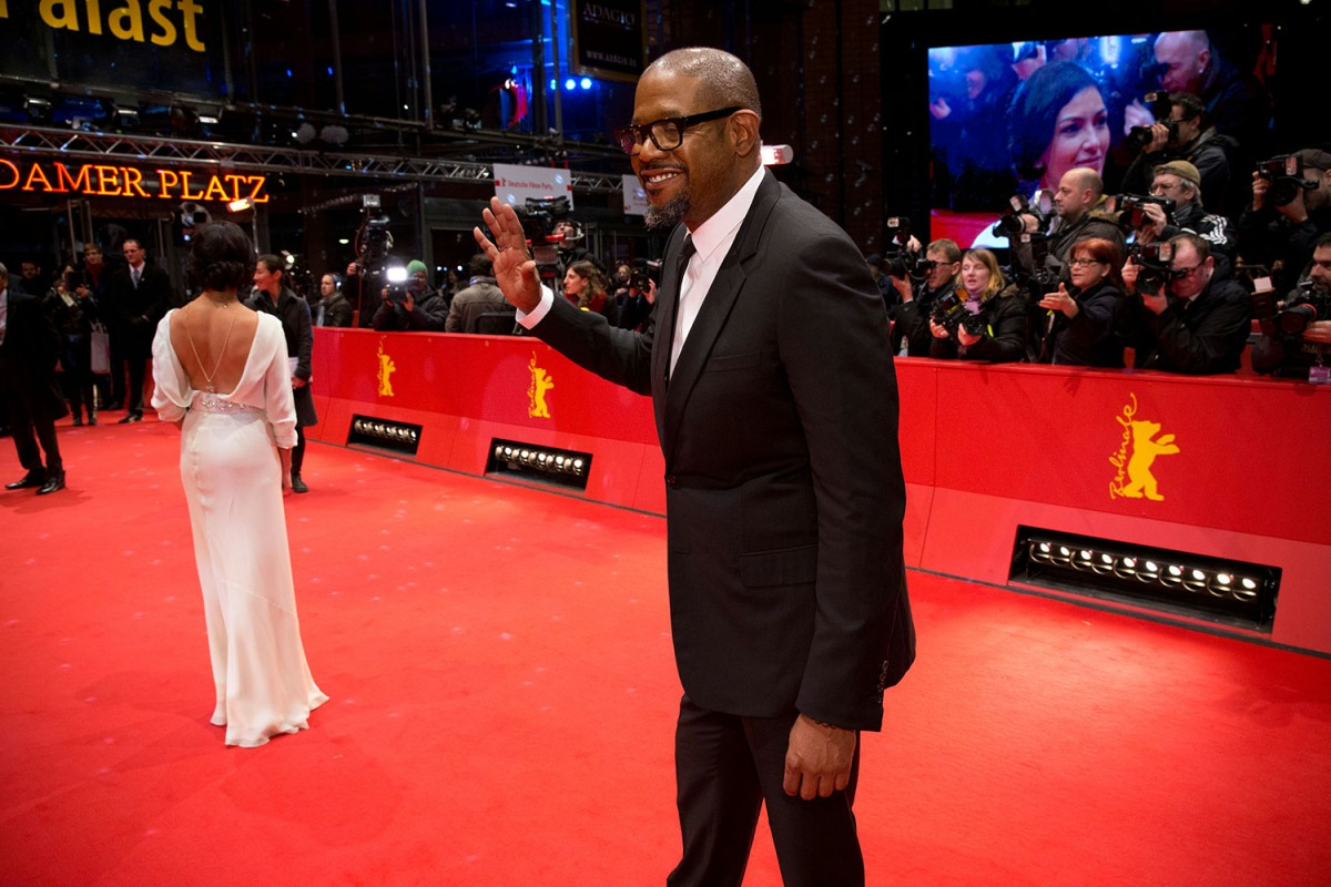 Dolores Héredia, Forest Whitaker   The actor at the Red Carpet. In the background the main actress.     Competition  –   La voie de l'ennemi  | Two Men in Town     Feb 7, 2014