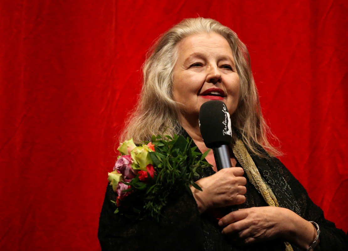 Hanna Schygulla   The actress on the stage of the Haus der Berliner Festspiele.     Berlinale Special  –   Baal      Feb 7, 2014