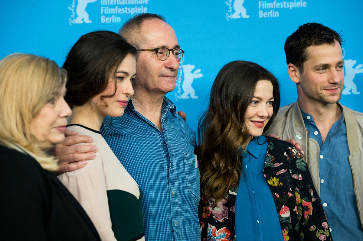 Uschi Reich, Henriette Confurius, Dominik Graf, Hannah Herzsprung, Florian Stetter   The producer, the director framed by his two leading actresses and the main actor at the Photo Call.     Competition  –   Die geliebten Schwestern  | Beloved Sisters     Feb 8, 2014
