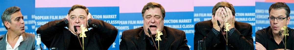 George Clooney, John Goodman, Matt Damon    Too much: John Goodman comments on the whistle virtues of his colleagues.     Competition  –   The Monuments Men  | Monuments Men – Ungewöhnliche Helden     Feb 8, 2014
