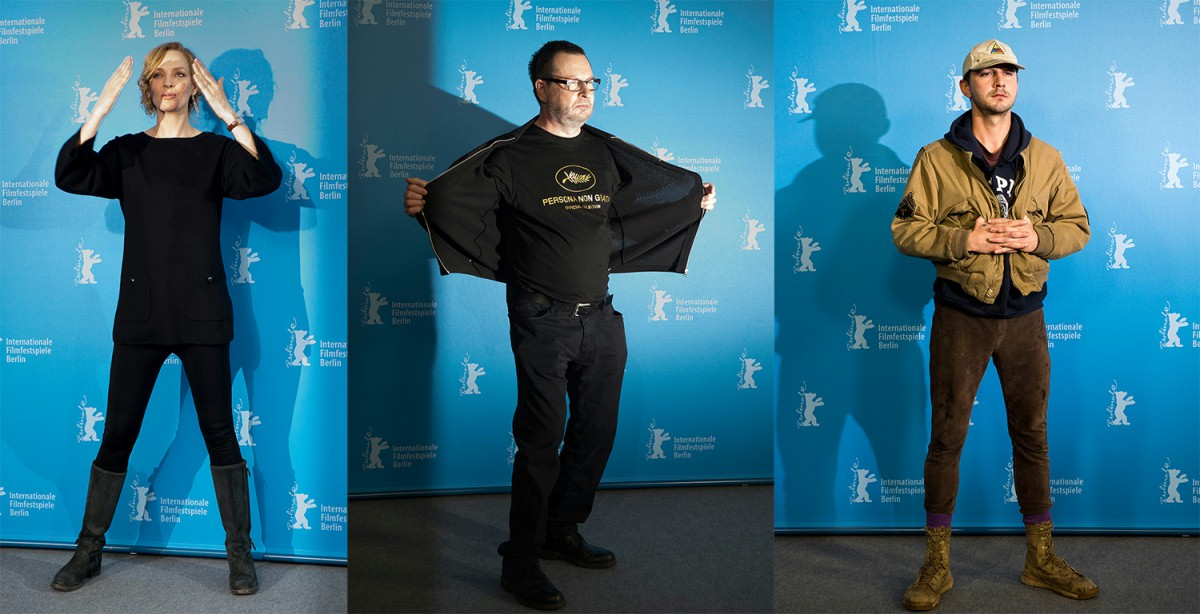 Uma Thurman, Lars von Trier, Shia LaBeouf   One of the most memorable Photo Calls of the Berlinale.     Competition  –   Nymphomaniac Volume I (long version)      Feb 9, 2014