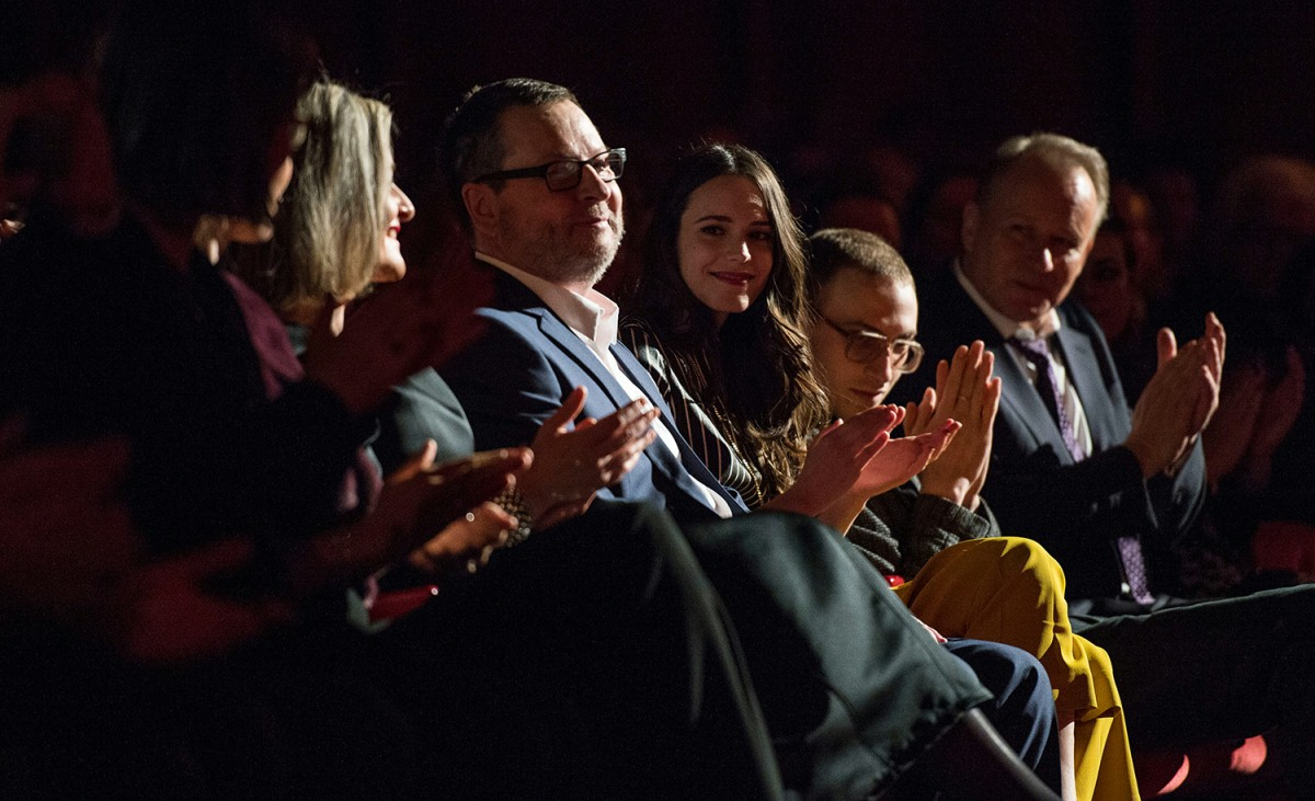 Lars von Trier, Stacy Martin, Stellan Skarsgård    In the Berlinale Palast.     Competition  –   Nymphomaniac Volume I (long version)      Feb 9, 2014