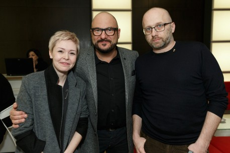 10.2.2015Viktoriya Korotkova, Piotr Gasowski, Artem Vasiliev  Die Schauspieler und der Produzent des Films im Berlinale VIP-Club. Wettbewerb – Pod electricheskimi oblakami | Under Electric Clouds