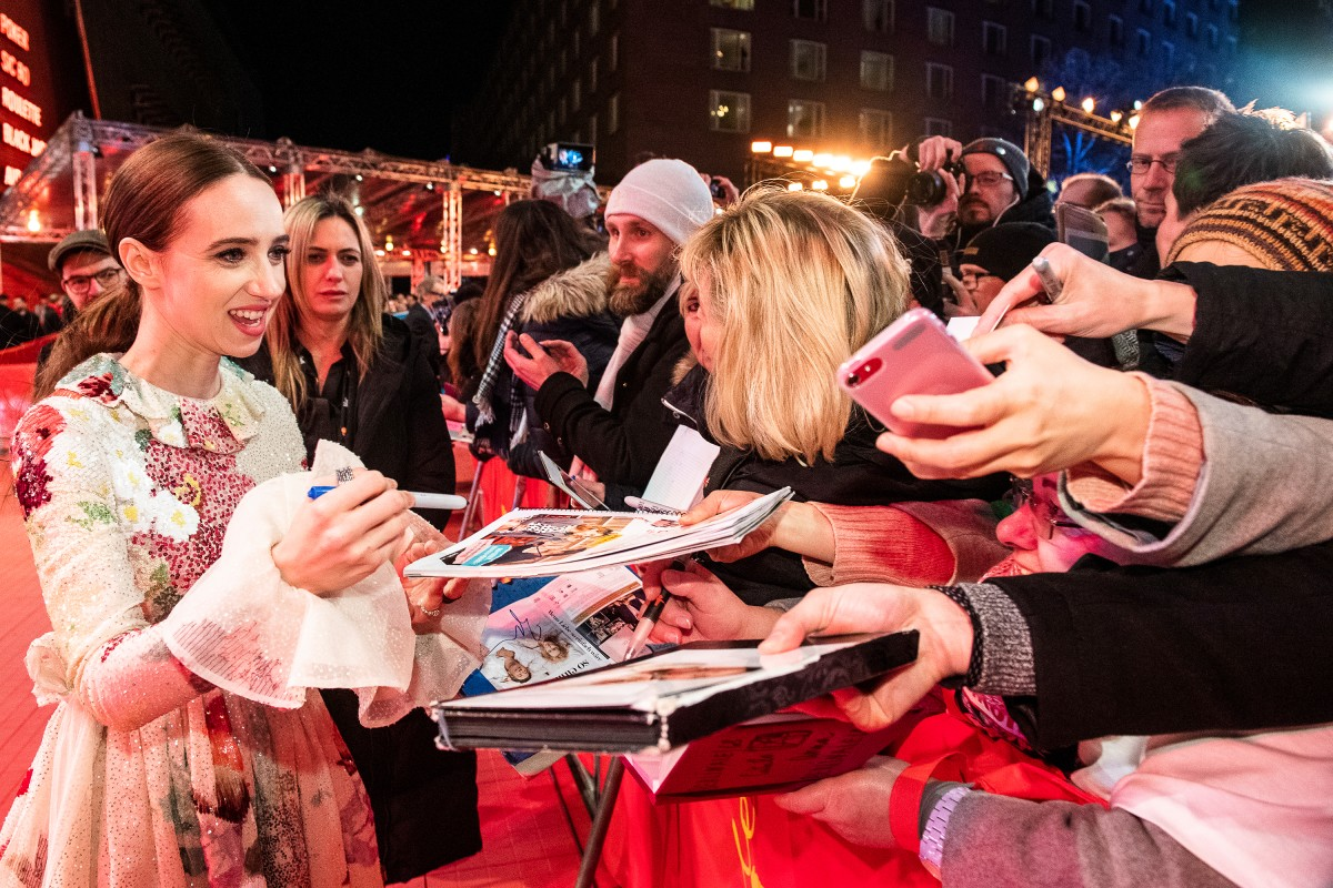 Zoe Kazan   The actress with fans at the Red Carpet.     Competition  –   The Kindness of Strangers      Feb 7, 2019