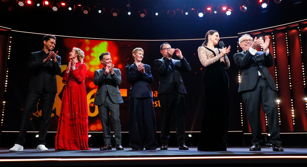 Rajendra Roy, Trudie Styler, Sebastián Lelio, Sandra Hüller, Justin Chang, Juliette Binoche, Dieter Kosslick   The jury with the Festival Director on the stage of the Berlinale Palast.    International Jury    Feb 7, 2019