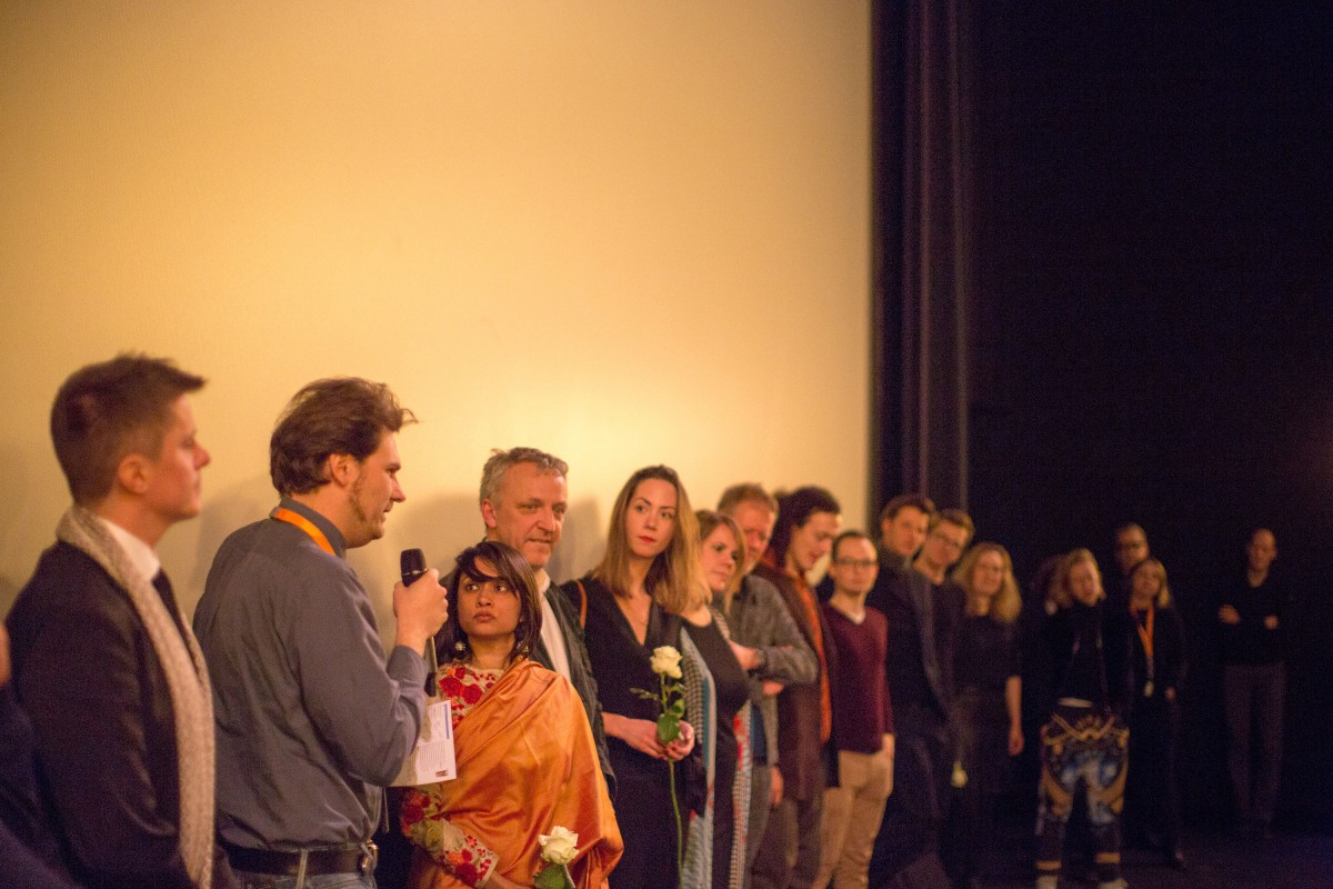 Udita Bhargava, film team   The director (third from right) with cast and crew during the Q&A after the film's premiere.     Perspektive Deutsches Kino  –   Dust      Feb 8, 2019