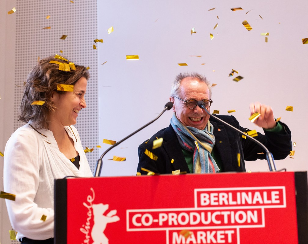 Kathi Bildhauer, Dieter Kosslick   The co-head and programme manager of the  Berlinale Co-Production Market  surprising the Festival Director during the opening celebration.     Berlinale Co-Production Market     Feb 9, 2019