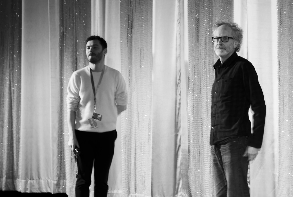 Michael Stütz, Seamus Murphy   The curator and the director during Q&A.     Panorama  –   A Dog Called Money      Feb 9, 2019