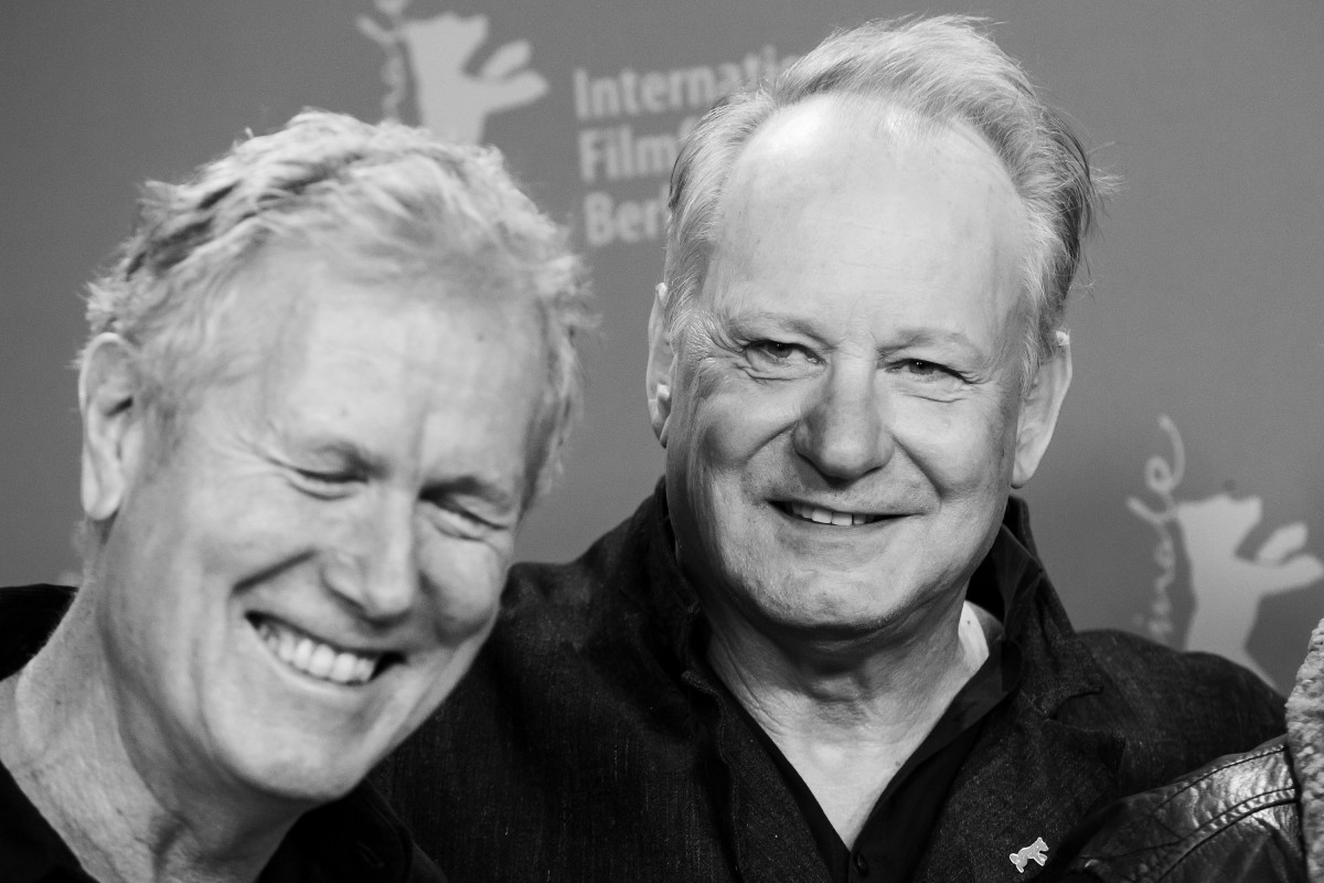 Hans Petter Moland, Stellan Skarsgård   The director and the leading actor at the Photo Call.     Competition  –   Ut og stjæle hester  | Out Stealing Horses | Pferde stehlen     Feb 9, 2019