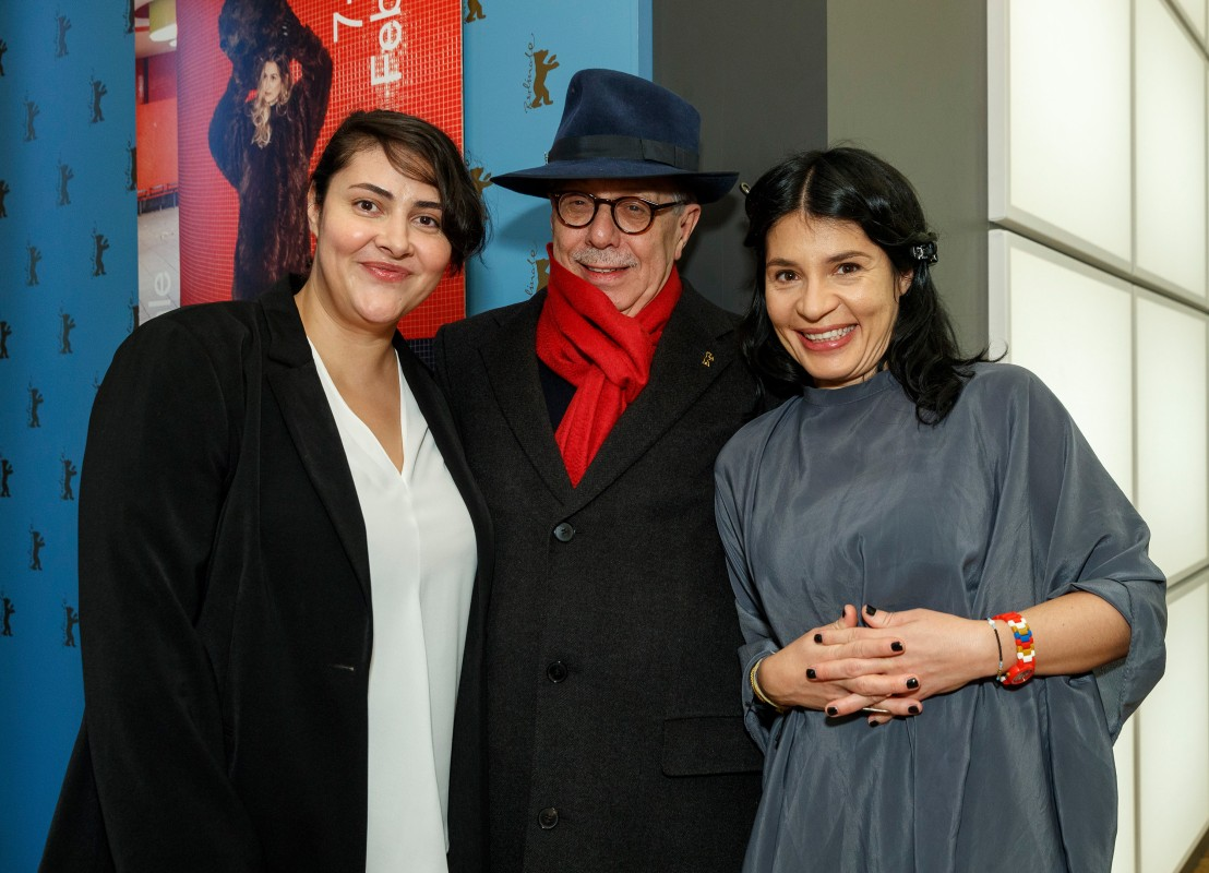 Zorica Nusheva, Dieter Kosslick, Teona Strugar Mitevska   The Festival Direktor amidst the leading actress (left) and the director (right).     Competition  –   Gospod postoi, imeto i' e Petrunija  | God Exists, Her Name Is Petrunya     Feb 10, 2019