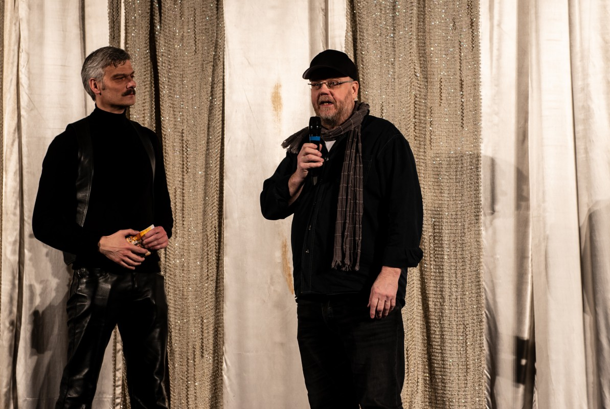 Andreas Struck, Ilppo Pohjola   The curator and the director of the film from 19991 during Q&A.      Daddy and the Muscle Academy   –  Panorama  40    Feb 12, 2019