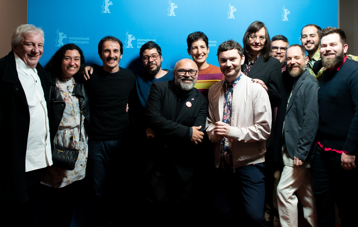 Filmteam, Michael Stütz   The crew of the Brazilian film with the curator.     Panorama  –   Greta      Feb 12, 2019