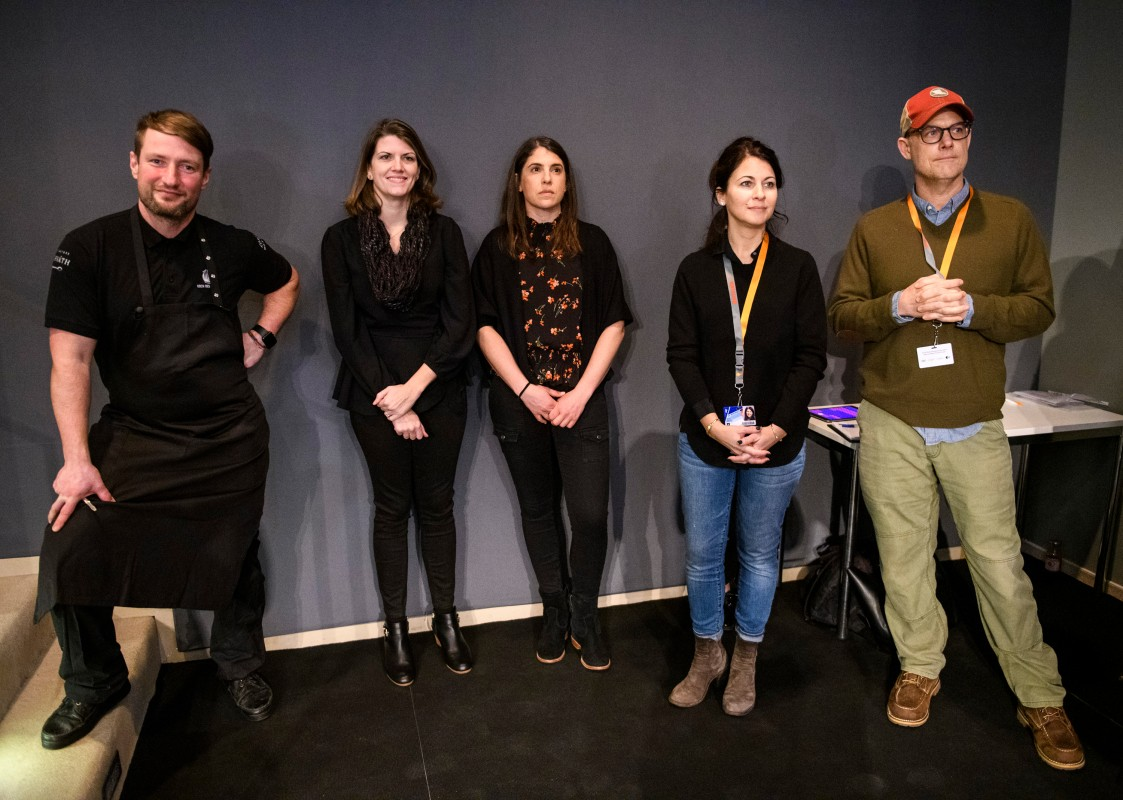 Sebastian Frank, Amy Overbeck, Sandra Keats, Erica Messer, John Chester   The top chef with the film's editor, the producer, the executive producer and the director.     Culinary Cinema  –   The Biggest Little Farm      Feb 14, 2019