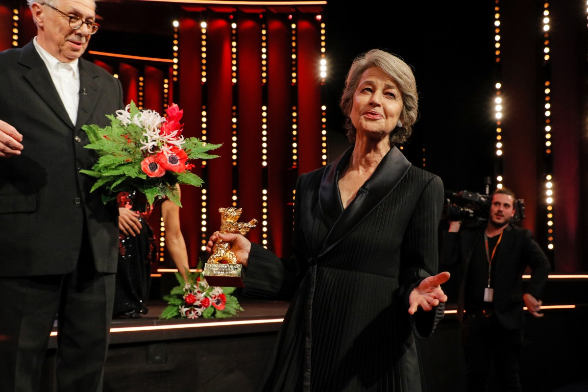 Dieter Kosslick, Charlotte Rampling   The Festival Director and the awardee on the stage of the Berlinale Palast.     Homage  – Honorary Golden Bear    Feb 14, 2019