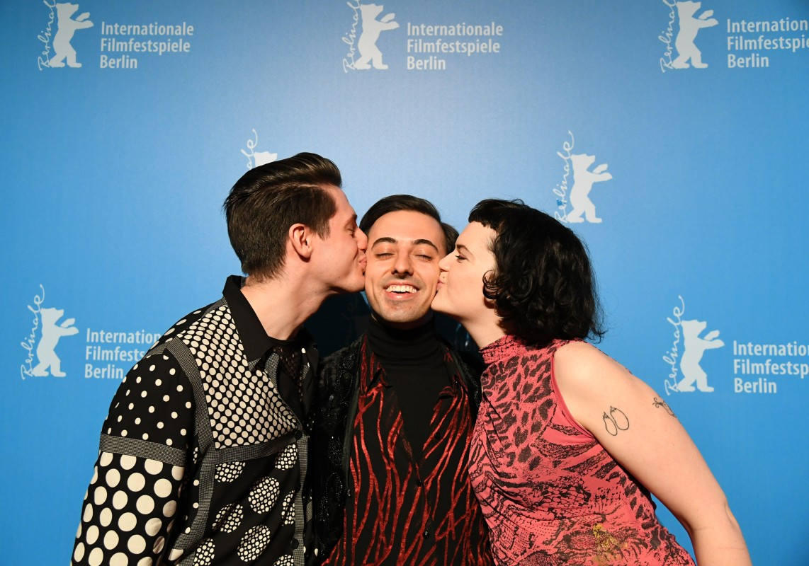 Laurie Kynaston, Marco Alessi, Mary Antony   The actor and the actress grace the director/writer with kisses.     Generation  –   Four Quartets      Feb 15, 2019