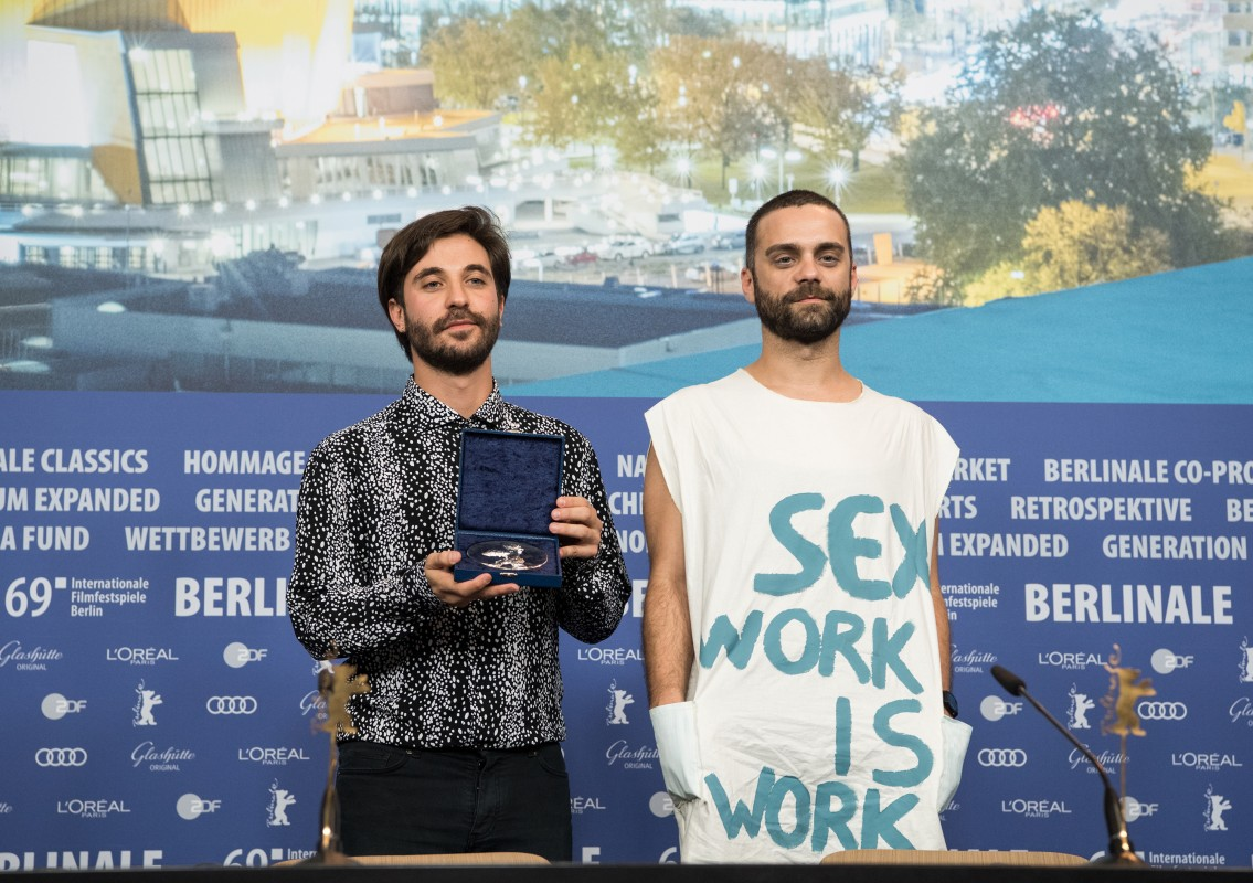 Manuel Abramovich, Bogdan Georgescu   The director and the creative producer presenting their award and represent a clear message.     Berlinale Shorts  –   Blue Boy   – Silver Bear Jury Prize (Short Film)    Feb 16, 2019